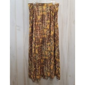 Lane Bryant Brown Maxi Skirt Pockets Slit 14/16